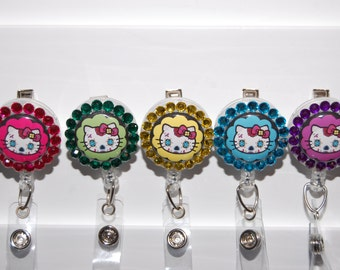 Retractable Badge Holder Sugar Skulls  Kitty Nurse inspired/ with Acrylic Rhine Stones Not an official Sanrio product