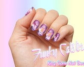 Kitty Cone Space Cat Nail Decals - Pastel Nail Wraps Nail Art Galaxy Kitten Kawaii Unicorn Ice Cream Pink Cosmos Pastel Goth