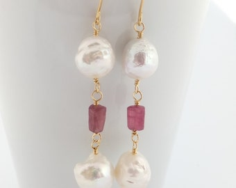 Kasumi pearl earrings, raw pink sapphire gemstones, ripple pearls, tiered, white freshwater, handcrafted, gold: Simply Adorned