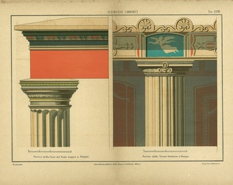 1800s Antique Architectural Print Doric Order Capital and Column, Pompeii, Italy