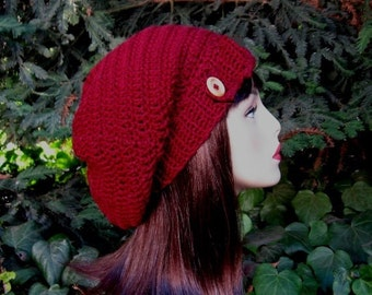 Maroon Slouch Hat with Button Crochet Red Beanie Cranberry Slouch hat Dark Red Knit Tam  Maroon Cap Women Slouchy Tam Dark Red Slouchy Cap