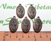 5 pcs per pack 28x15mm Oval Medallion Charm St. Jude Thaddeus in Antique Copper lead free Pewter.