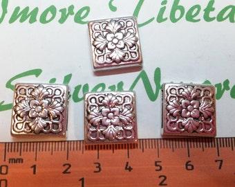 4 pcs per pack 17mm 5mm thickness 13mm inner slide Square Flower stamp Antique Silver Finish Lead Free Pewter