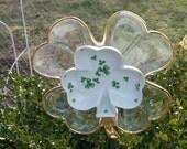 Glass Gold Shamrock Garden Flower Decor, Upcycled Glassware Yard Art