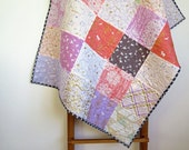 Baby quilt, nursery bedding, pram cot quilt, baby blanket, lavender purple brown orange