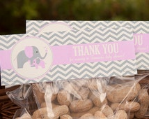Elephant Baby Shower Treat Toppers - Girl Baby Shower - Elephant Baby Shower Favor Toppers - PERSONALIZED