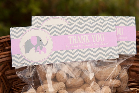 Elephant Baby Shower Treat Toppers Girl Baby Shower Elephant