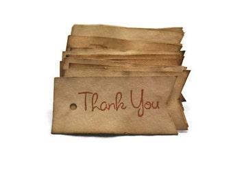 Vintage Inspired Flag Thank You Tags. Kraft Rustic Gift Tags Set of 24. Favor Tags Wedding Shower Birthday Stamped