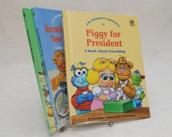 Children's Books: Jim Henson's Muppets - Set of Three - Vintage Books, Grolier, Muppet Press Book, Miss Piggy, Kermit, Gonzo, 1992