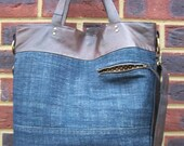 SALE recycled denim/leather bag - Crossbody-tote-handbag, chocolate leather, dark denim, brown heart lining. Multi-use bag.