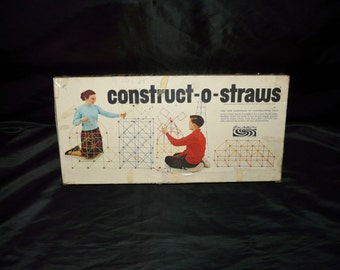 Construct-O-Straws Vintage 1964 Parker Brothers Construction Straw Toy Building Game in Box 1960s Kids
