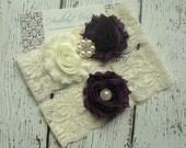 EGGPLANT PURPLE Bridal Garter Set - Ivory Keepsake & Toss Wedding Garters - Chiffon Flowers Rhinestone Garters - Ivory Lace Garter