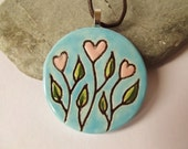 Ceramic Pottery Heart Flower Large Pendant Necklace, Nature Jewellery, Plant Jewelry, Flower Jewelry, Bright Jewelry, Heart Jewelry, Artisan