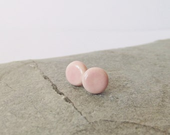Ceramic Pottery Small Stud Earrings - Post Earrings - Soft Pink - Rose Quartz Pink - Pantone Colour of the Year 2016