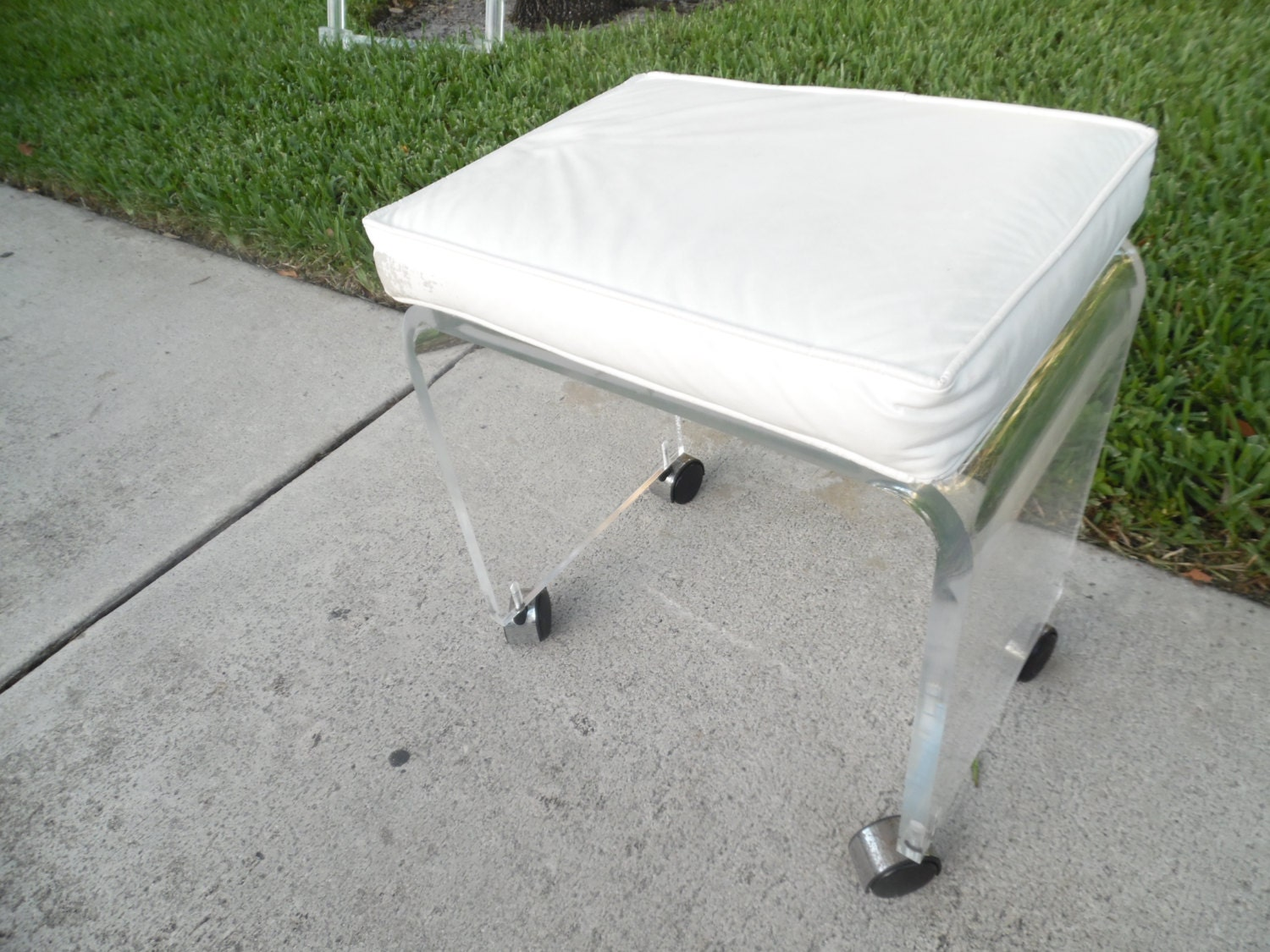 Cool Lucite Stool Rolling Lucite Vanity Stool Removable
