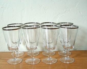 Vintage Silver Rim Glasses Set of 8 Goblets Champagne Wine Cocktail Mid Century France