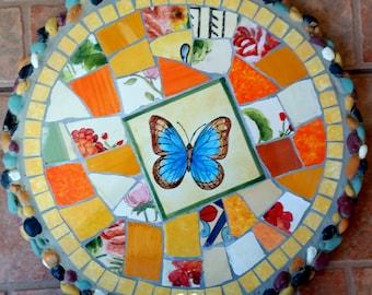 Mosaic stepping stone Mosaic wall plaque Mosaic wall decor-orbt