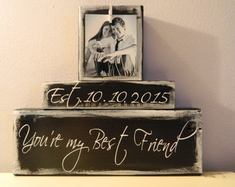 Personalized wedding gift shower gift wedding gift anniversary gift black and white shabby chic rustic you are my best friend couple gift