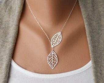 Leaf lariat necklace - Leaf necklace - Silver plate - Gold plate - Adjustable
