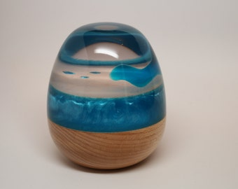 Handmade Wooden Egg Sculpture made of Maple Wood & Crystal Clear Resin with Brilliantly Colored Pearl Blue Resin - Collectible Wedding Gift