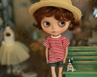 Miss yo 2015 Summer & Autumn - Basic T shirt for Blythe / JerryBerry doll - dress / outfit - Red Stripes