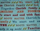 Moda Family Tree fabric Deb Strain aqua words oop htf 19642-12