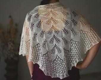 Knit wedding shawl, bridal shawl, bridesmaids shawl in vanilla white, gift for her