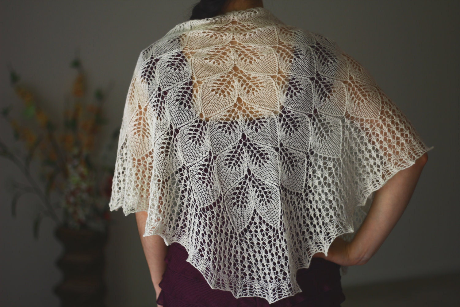 Knit wedding shawl bridal shawl bridesmaids shawl in vanilla