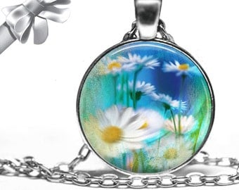 Abstract Daisies on Underground Blue and Green Background Necklace Pendant - Choose Size