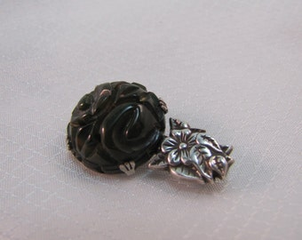 c1940's Carved Green Bakelite Flower Brooch, Silver Plated Setting