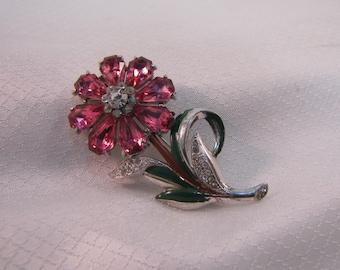 c1940's Rhodium Plated PInk Rhinestone Flower Brooch, Pink Daisy, Coro