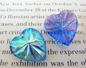 2 glass pendants, 20x18mm, blue AB, heart
