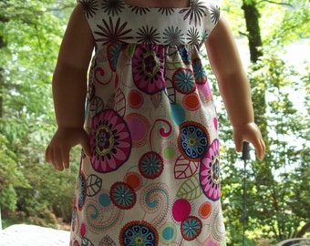 American Girl Doll or 18 inch dolls clothes.  Floor length ruffled sundress with lime green contrast.