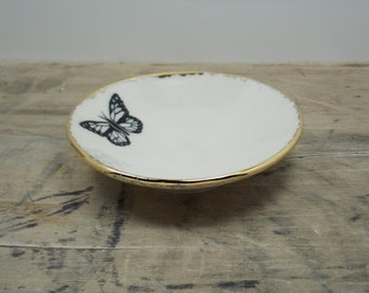 One Monarch Butterfly Porcelain Tiny Bowl-Gold & White, Ring Dish, Candle Holder, Wedding Favor, Wedding Gift
