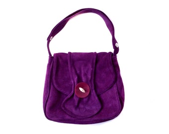 1970s Purple Suede Leather Purse with Adjustable Strap Made in Cypress
