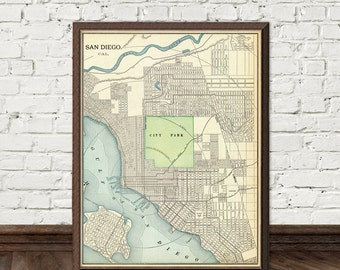 Old map of San Diego -  Fine reproduction city map print