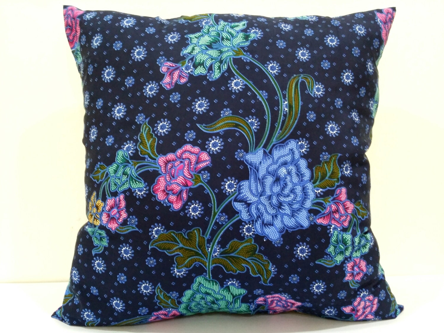 Dark Blue Throw Pillow : Dark Blue Throw Pillows decorative Floral Batik by LyliCraft