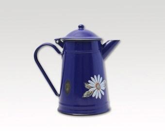 Vintage Enamel Tea pot - Enamelware - Vintage enamel pitcher - Coffee Pot - 1960s - Navy - Floral - Industrial Kitchen -