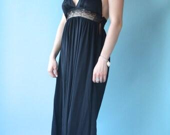 Black Nightgown Spaghetti Straps Oversized Handkerchief Hem Medium