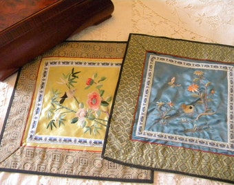 Chinese silk hand embroidery panels to frame birds flowers butterfly Asian accent