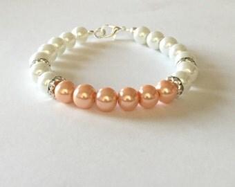Peach and White Pearl Rhinestone Bracelet