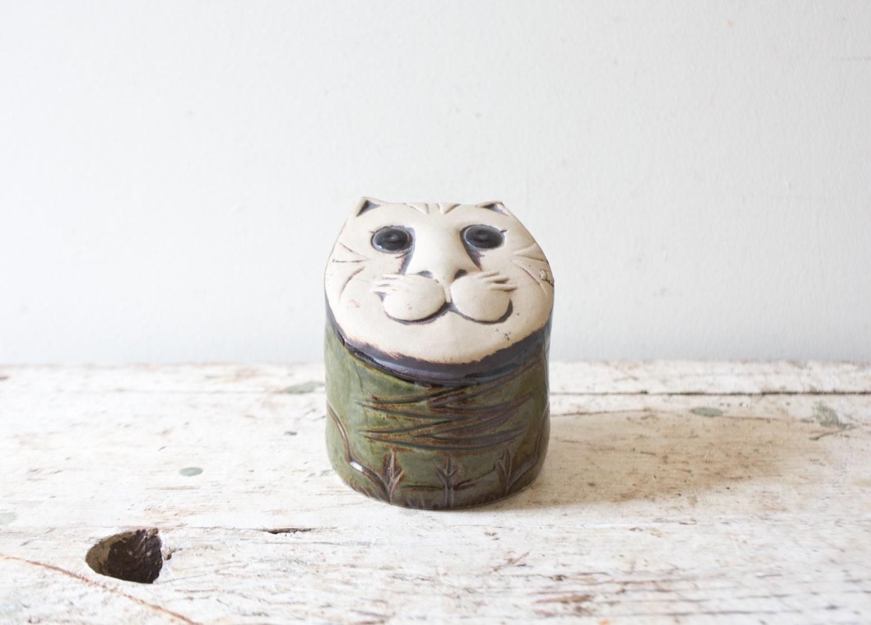 Ceramic piggy bank cat bank handmade vintage by whiskyginger for Handmade coin bank