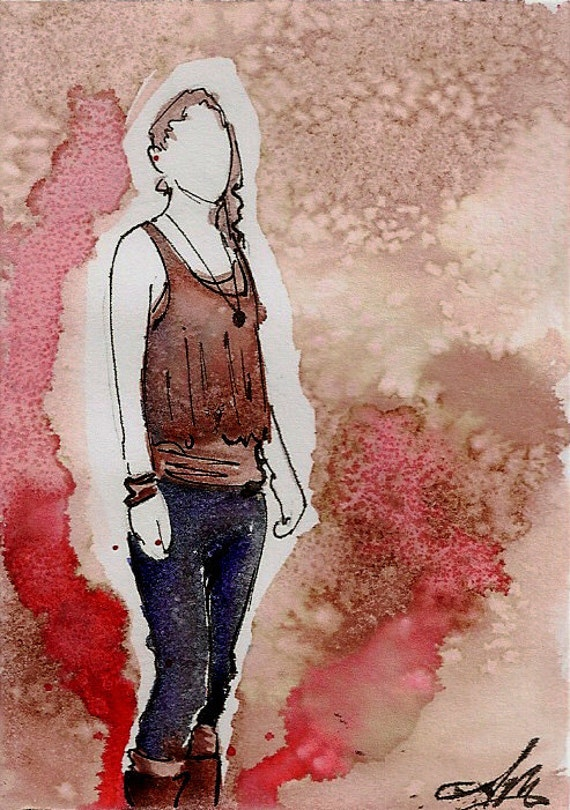 Beth's Tribute, Walking Dead original Fan Art Watercolor, Salt, and pencil on Bristol ACEO Artist Trading Card