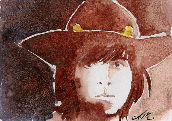 Son of a Sheriff, Walking Dead original Fan Art Watercolor, Salt, and pencil on Bristol ACEO Artist Trading Card