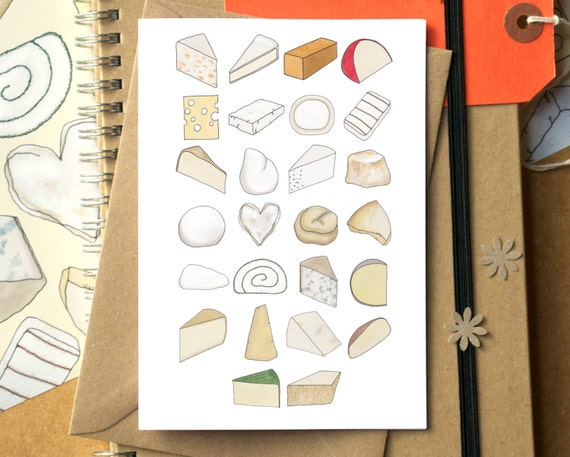 Cheese Alphabet Greetings Card - birthday card for cheese lover - card for foodie - Alphabet of Cheese - card for cheese lover - cheesy card