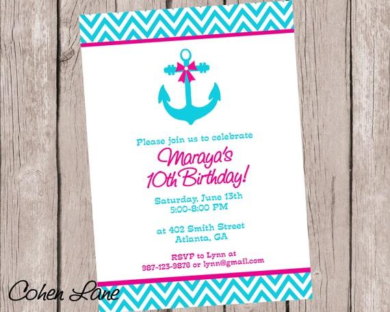 Printable Nautical Birthday Party Invitation Anchor Invitation