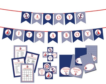 Nautical Boy Baby Shower Decorations Navy Blue and Red  INSTANT DOWNLOAD DIY - Ahoy its a Boy Baby Shower - Shower Decorations