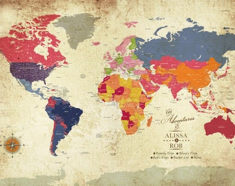 Poster of the world, 24X36 Inches, Colorful Vintage, Honeymoon, Vacation Art, Travel Map, Paper Gift, Gift for Mom and dad