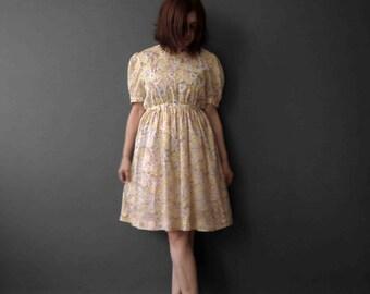 Vintage 80s Pierre Cardin Lemon Floral Dress