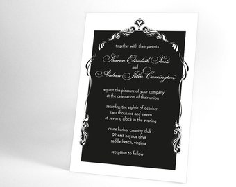 Art Nouveau Vintage Wedding Invitation Suite, Black and White Wedding or You Choose the Color. Elegant Wedding Vintage Inspired Invites